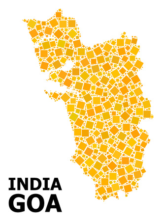 Gold square pattern vector map of Goa State. Abstract composition geographic map of Goa State is constructed from random flat rotated square pixels. Illustration