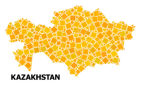 Gold square mosaic vector map of Kazakhstan. Abstract composition geographic map of Kazakhstan is constructed from random flat rotated square pixels. Vector illustration in yellow golden color tones.