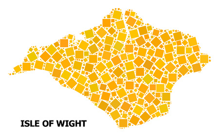 Gold square mosaic vector map of Isle of Wight. Abstract mosaic geographic map of Isle of Wight is composed with random flat rotated square parts. Illustration