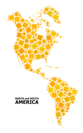 Gold square mosaic vector map of South and North America. Abstract concept geographic map of South and North America is organized from scattered flat rotated square pixels.