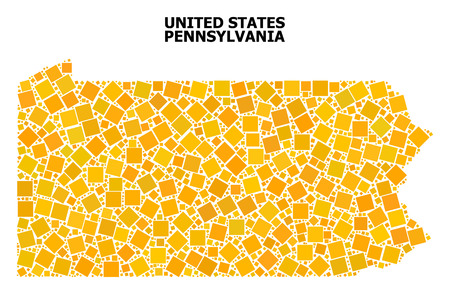 Gold square mosaic vector map of Pennsylvania State. Abstract concept geographic map of Pennsylvania State is composed from randomized flat rotated square elements.