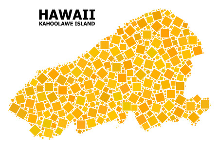 Gold square mosaic vector map of Kahoolawe Island. Abstract collage geographic map of Kahoolawe Island is done from random flat rotated square pixels. Vector illustration in yellow golden color hues.