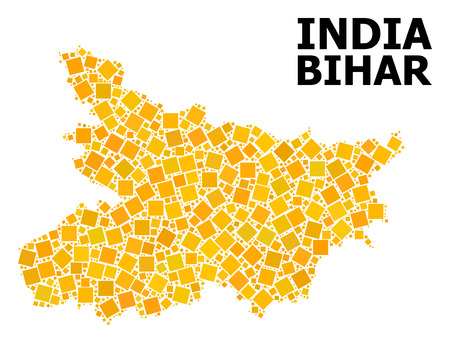 Gold square mosaic vector map of Bihar State. Abstract mosaic geographic map of Bihar State is organized with randomized flat rotated square points. Vector illustration in yellow golden color tints. Illustration