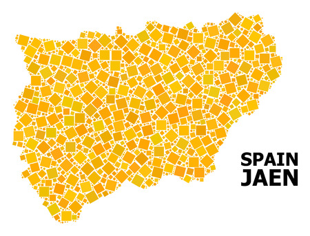 Gold square mosaic vector map of Jaen Spanish Province. Abstract concept geographic map of Jaen Spanish Province is composed from randomized flat rotated square pixels. 일러스트