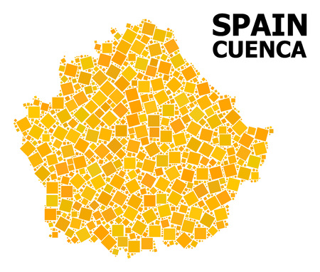 Gold square mosaic vector map of Cuenca Province. Abstract mosaic geographic map of Cuenca Province is composed from random flat rotated square points.