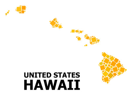 Gold square pattern vector map of Hawaii State. Abstract collage geographic map of Hawaii State is combined from randomized flat rotated square pixels. Vector illustration in yellow golden color hues. Illustration