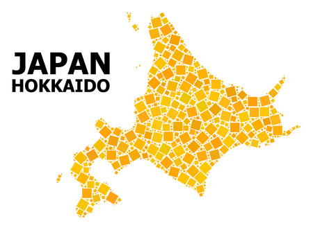 Gold square mosaic vector map of Hokkaido Island. Abstract mosaic geographic map of Hokkaido Island is constructed from random flat rotated rectangle parts.
