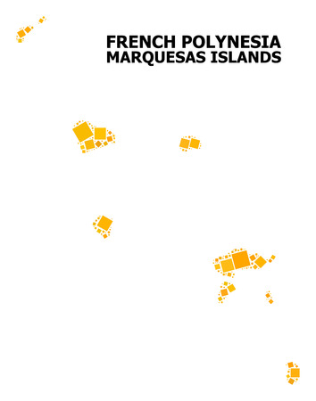 Gold square mosaic vector map of Marquesas Islands. Abstract mosaic geographic map of Marquesas Islands is designed with scattered flat rotated rectangle parts.