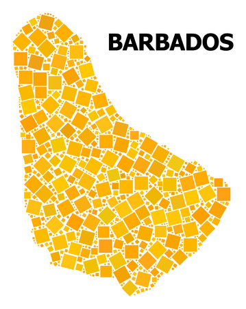 Gold square pattern vector map of Barbados. Abstract composition geographic map of Barbados is composed with randomized flat rotated square elements. Vector illustration in yellow golden color shades. Illustration