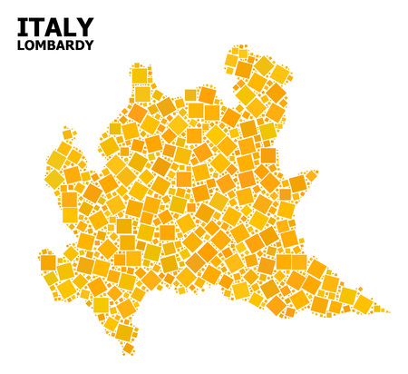 Gold square pattern vector map of Lombardy region. Abstract mosaic geographic map of Lombardy region is constructed from scattered flat rotated square items.