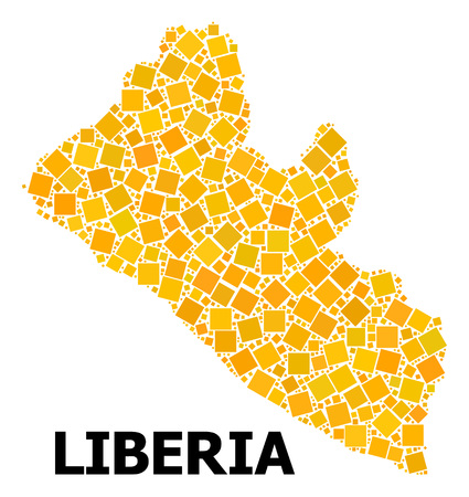 Gold square mosaic vector map of Liberia. Abstract composition geographic map of Liberia is done from scattered flat rotated square elements. Vector illustration in yellow golden color shades.