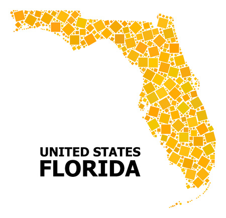 Gold square mosaic vector map of Florida State. Abstract mosaic geographic map of Florida State is organized with randomized flat rotated square dots.