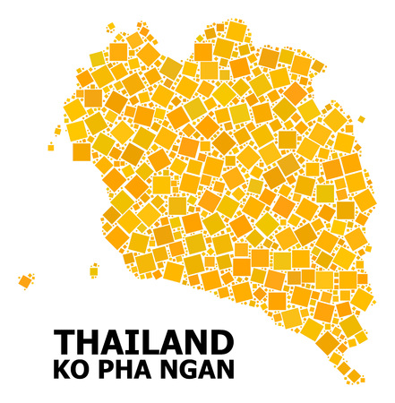 Gold square mosaic vector map of Ko Pha Ngan. Abstract mosaic geographic map of Ko Pha Ngan is organized with randomized flat rotated square parts. Vector illustration in yellow golden color shades.