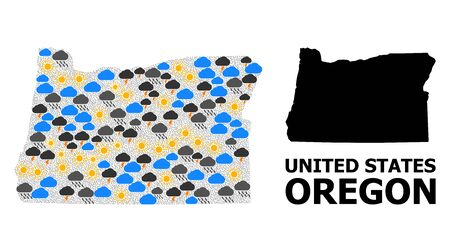 Climate pattern vector map of Oregon State. Geographic composition map of Oregon State is created from randomized rain, cloud, sun, thunderstorm symbols. Vector flat illustration for climate forecst.  イラスト・ベクター素材