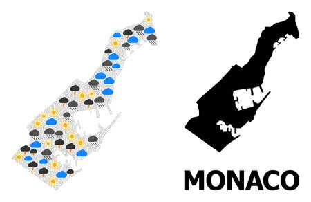 Weather collage vector map of Monaco. Geographic collage map of Monaco is combined from scattered rain, cloud, sun, thunderstorm elements. Vector flat illustration for weather news.