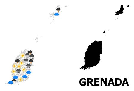 Climate collage vector map of Grenada Islands. Geographic collage map of Grenada Islands is done with randomized rain, cloud, sun, thunderstorm icons. Vector flat illustration for climate forecst. Иллюстрация