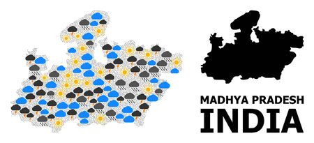 Weather collage vector map of Madhya Pradesh State. Geographic concept map of Madhya Pradesh State is composed from scattered rain, cloud, sun, thunderstorm icons. Illustration