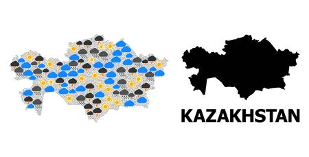 Climate collage vector map of Kazakhstan. Geographic collage map of Kazakhstan is designed from randomized rain, cloud, sun, thunderstorm symbols. Vector flat illustration for climate forecst.