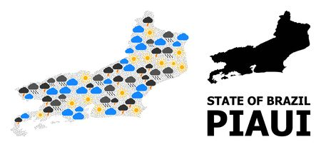 Climate collage vector map of Piaui State. Geographic collage map of Piaui State is organized from random rain, cloud, sun, thunderstorm elements. Vector flat illustration for climate predictions. Illustration