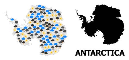 Weather collage vector map of Antarctica. Geographic collage map of Antarctica is constructed from scattered rain, cloud, sun, thunderstorm icons. Vector flat illustration for weather predictions.  イラスト・ベクター素材