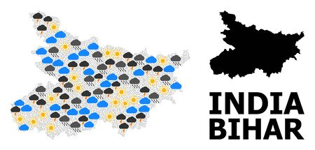 Weather mosaic vector map of Bihar State. Geographic composition map of Bihar State is done with random rain, cloud, sun, thunderstorm items. Vector flat illustration for weather news.