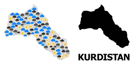 Climate mosaic vector map of Kurdistan. Geographic concept map of Kurdistan is organized from random rain, cloud, sun, thunderstorm symbols. Vector flat illustration for climate forecst.