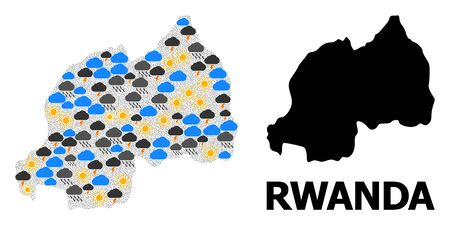 Climate mosaic vector map of Rwanda. Geographic collage map of Rwanda is combined with randomized rain, cloud, sun, thunderstorm symbols. Vector flat illustration for climate predictions.