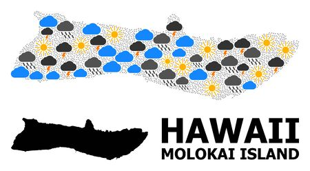 Climate mosaic vector map of Molokai Island. Geographic mosaic map of Molokai Island is designed with random rain, cloud, sun, thunderstorm elements. Vector flat illustration for climate forecst.