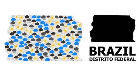 Weather pattern vector map of Brazil - Distrito Federal. Geographic collage map of Brazil - Distrito Federal is constructed from scattered rain, cloud, sun, thunderstorm items. Illustration