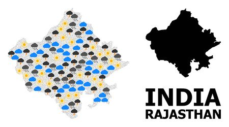 Weather collage vector map of Rajasthan State. Geographic collage map of Rajasthan State is constructed with randomized rain, cloud, sun, thunderstorm elements.