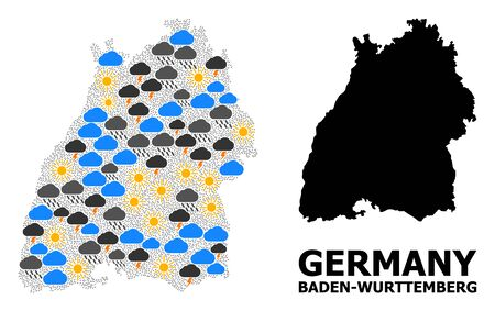 Climate mosaic vector map of Baden-Wurttemberg State. Geographic mosaic map of Baden-Wurttemberg State is constructed from scattered rain, cloud, sun, thunderstorm. Illustration