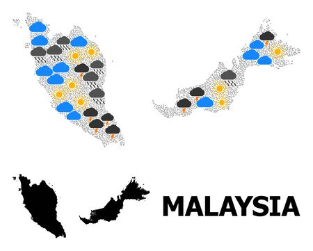 Weather collage vector map of Malaysia. Geographic collage map of Malaysia is designed from randomized rain, cloud, sun, thunderstorm elements. Vector flat illustration for weather forecst. Иллюстрация