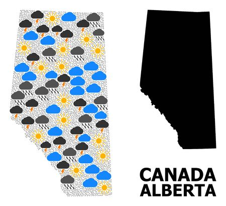 Climate collage vector map of Alberta Province. Geographic collage map of Alberta Province is constructed from scattered rain, cloud, sun, thunderstorm items.