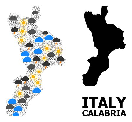 Climate mosaic vector map of Calabria region. Geographic collage map of Calabria region is done with random rain, cloud, sun, thunderstorm icons. Vector flat illustration for climate predictions.