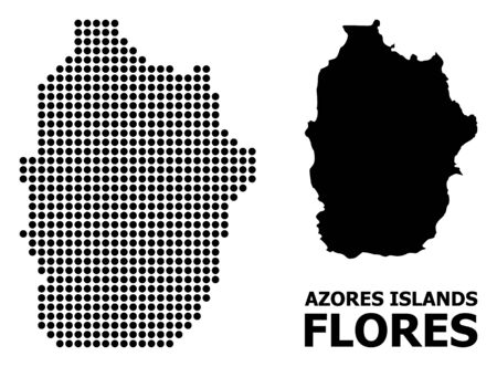 Pixel map of Azores - Flores Island composition and solid illustration. Vector map of Azores - Flores Island composition of sphere elements on a white background.