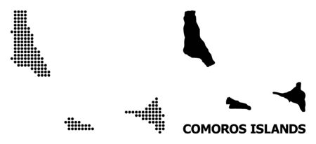 Dot map of Comoros Islands composition and solid illustration. Vector map of Comoros Islands composition of spheric items on a white background. Abstract flat geographic plan for education purposes.
