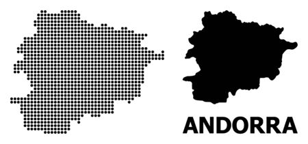 Dot map of Andorra composition and solid illustration. Vector map of Andorra composition of circle pixels on a white background. Abstract flat territory scheme for education purposes.