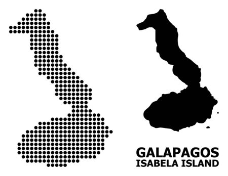 Dot map of Galapagos - Isabela Island composition and solid illustration. Vector map of Galapagos - Isabela Island composition of round spots on a white background.