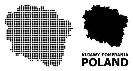Pixel map of Kujawy-Pomerania Province composition and solid illustration. Vector map of Kujawy-Pomerania Province composition of circle elements on a white background. Illusztráció