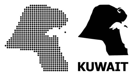 Dotted map of Kuwait composition and solid illustration. Vector map of Kuwait composition of round points on a white background. Abstract flat territorial scheme for educational templates.