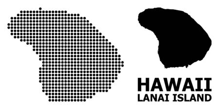 Pixelated map of Lanai Island composition and solid illustration. Vector map of Lanai Island composition of circle pixels on a white background.