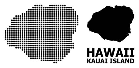 Pixel map of Kauai Island composition and solid illustration. Vector map of Kauai Island composition of spheric dots on a white background. Abstract flat territory plan for education templates.