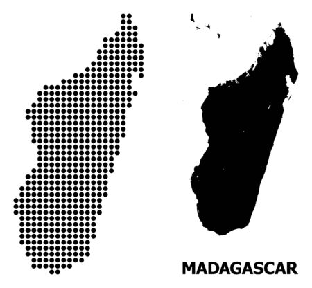 Pixelated map of Madagascar Island composition and solid illustration. Vector map of Madagascar Island composition of spheric spots on a white background. Çizim