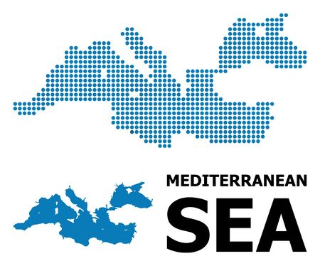 Pixel map of Mediterranean Sea composition and solid illustration. Vector map of Mediterranean Sea composition of round dots on a white background.