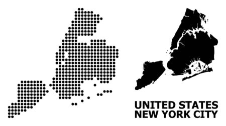 Pixel map of New York City composition and solid illustration. Vector map of New York City composition of sphere elements on a white background.