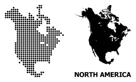 Dotted map of North America composition and solid illustration. Vector map of North America composition of round elements on a white background. Abstract flat territory scheme for education templates.