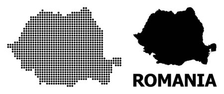 Pixel map of Romania composition and solid illustration. Vector map of Romania composition of round pixels on a white background. Abstract flat territory scheme for political illustrations.