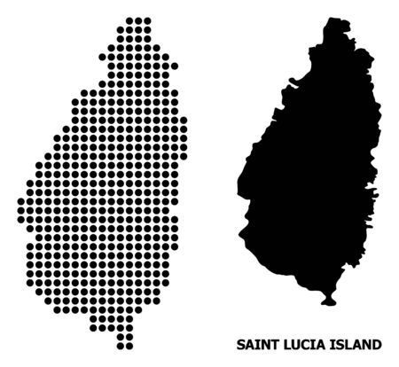 Pixelated map of Saint Lucia Island composition and solid illustration. Vector map of Saint Lucia Island composition of circle pixels on a white background.