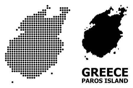 Dotted map of Paros Island composition and solid illustration. Vector map of Paros Island composition of spheric items on a white background. Foto de archivo - 127201753