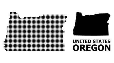 Pixel map of Oregon State composition and solid illustration. Vector map of Oregon State composition of spheric pixels on a white background.